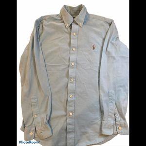 Ralph Lauren light blue knit button down shirt M